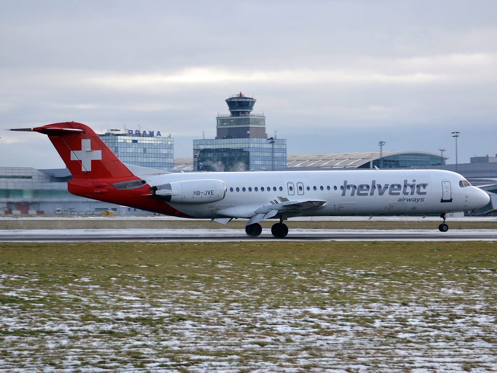 Fokker 100 (F-28-0100) Helvetic Airways HB-JVE Prague_Ruzyne (PRG/LKPR) December_16_2012