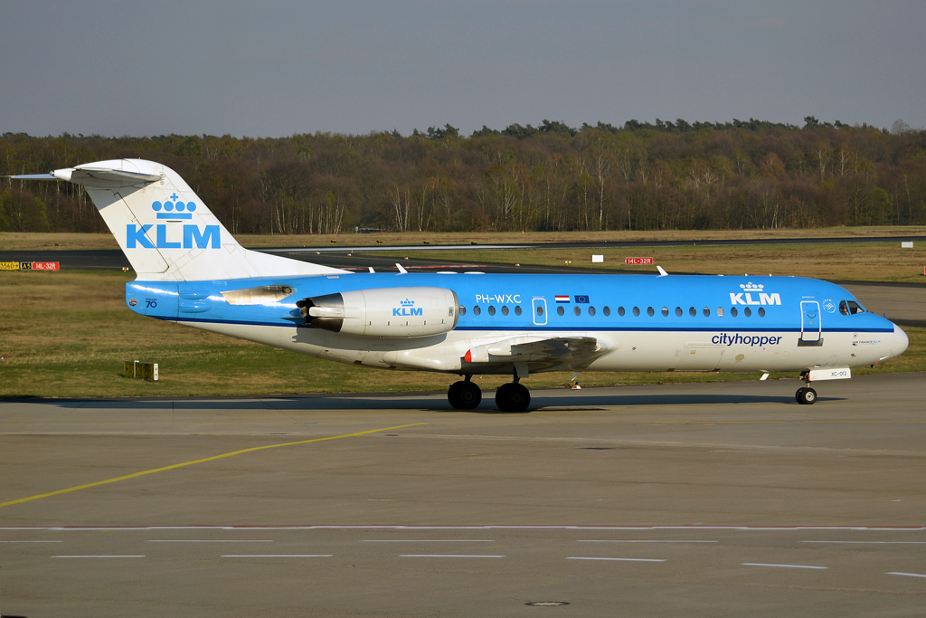 Fokker 70 (F-28-0070) KLM Cityhopper PH-WXC Cologne_Bonn (CGN/EDDK) April_08_2012