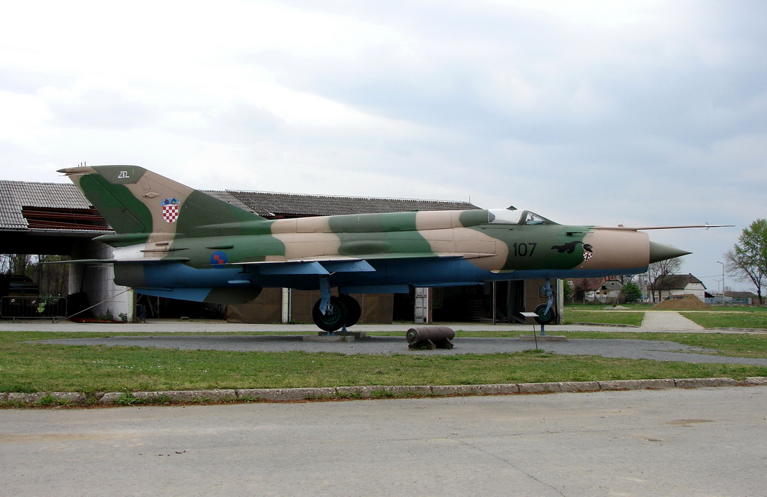 Mikoyan-Gurevich MiG-21bis Croatia Air Force 107 Off Airport Vukovar April_16_2012.